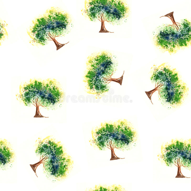 无缝的样式树,绘形象艺术的水彩 库存照片