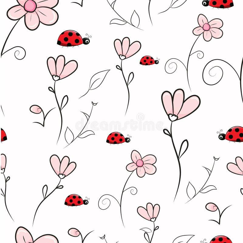 无缝的样式桃红色花和瓢虫 向量例证