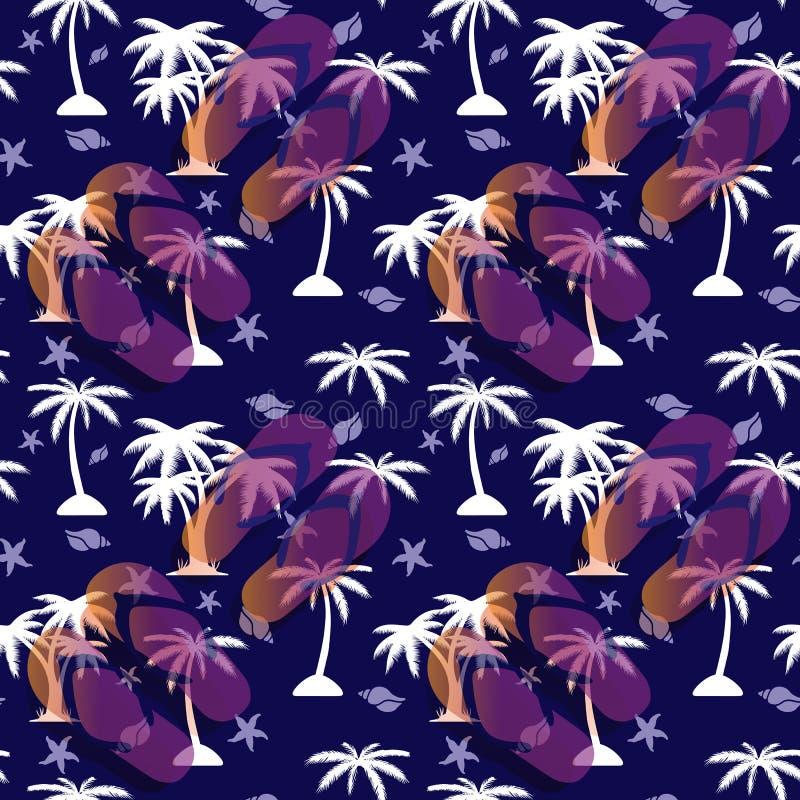 无缝的样式棕榈树、海扇壳和凉鞋海滩的在蓝色背景 库存例证