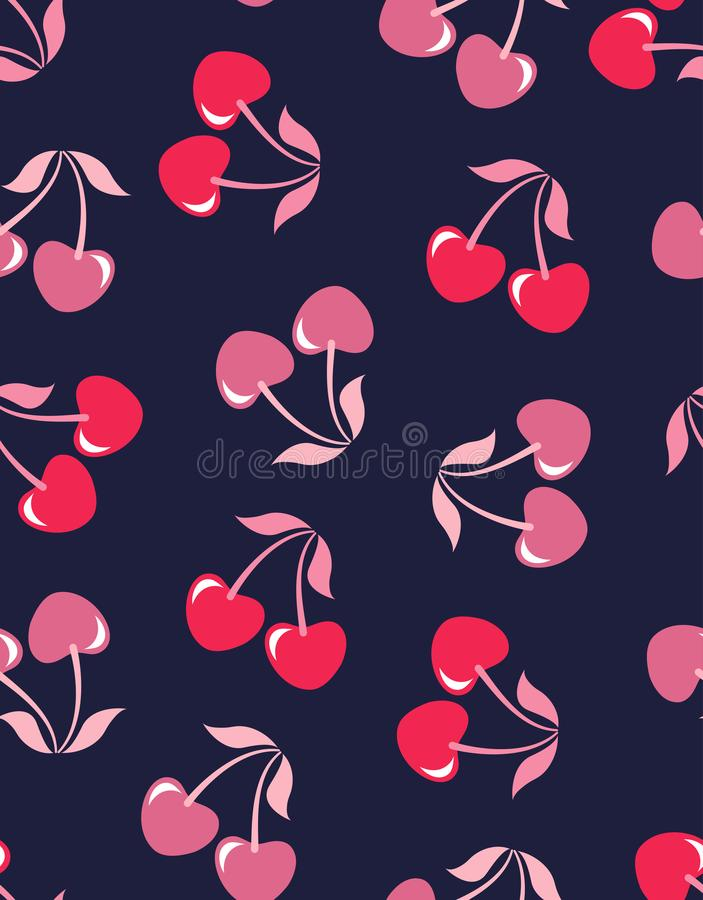 无缝的样式樱桃 向量例证
