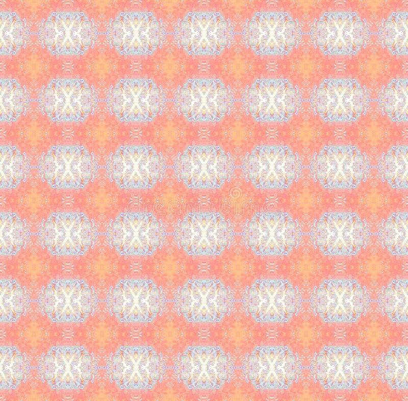 无缝的样式橙色桃红色蓝色灰棕色 向量例证