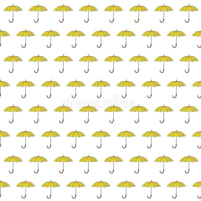 无缝的样式水彩秋天伞 概述在白色背景的剪影例证 库存例证