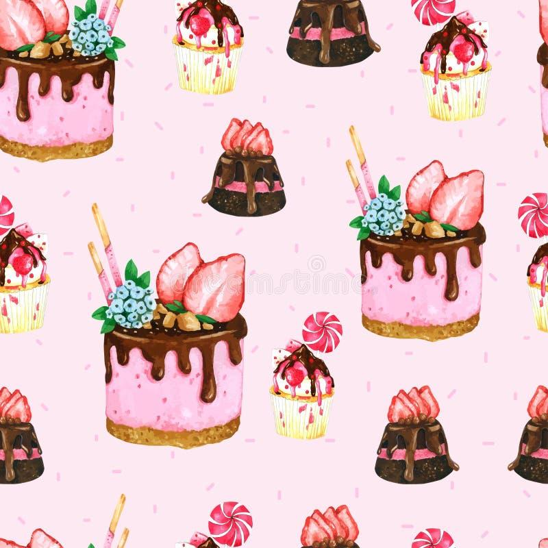 无缝的样式水彩蛋糕 向量例证