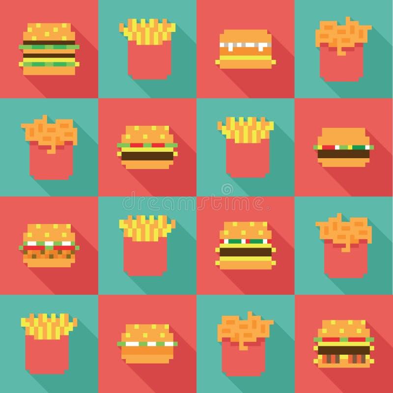 无缝的样式汉堡油煎,动态二重奏平的设计 库存例证