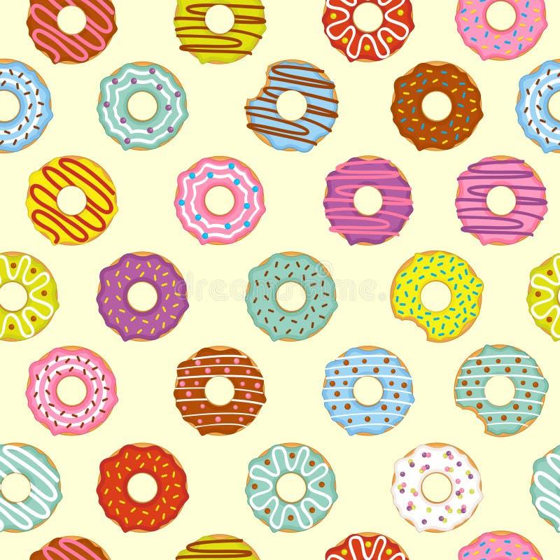 无缝的样式油炸圈饼 向量例证