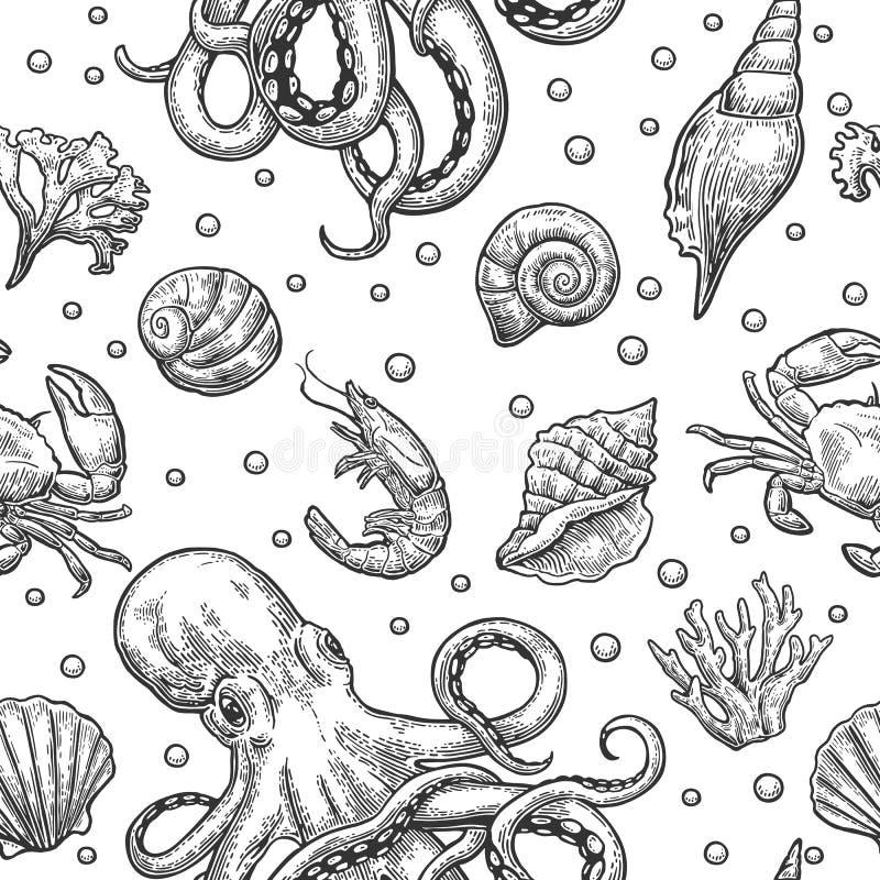 无缝的样式海壳、珊瑚、螃蟹、章鱼和虾 传染媒介板刻葡萄酒例证 背景查出的白色 皇族释放例证