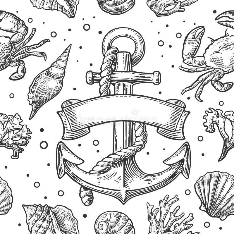 无缝的样式海壳、珊瑚、螃蟹和虾 传染媒介板刻葡萄酒例证 背景查出的白色 向量例证