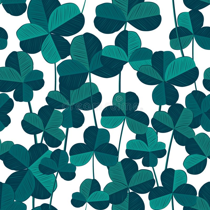 无缝的样式用三叶草和四叶聪明的叶子 也corel凹道例证向量 时髦蓝色和深蓝调色板 皇族释放例证