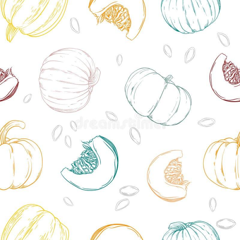 无缝的样式用五颜六色的手拉的南瓜和种子 皇族释放例证