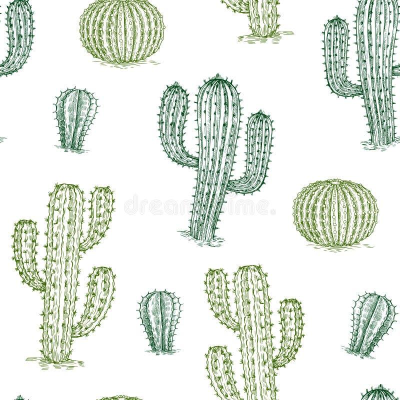无缝的样式用仙人掌 手拉的沙漠植物仙人掌重复传染媒介纹理 向量例证