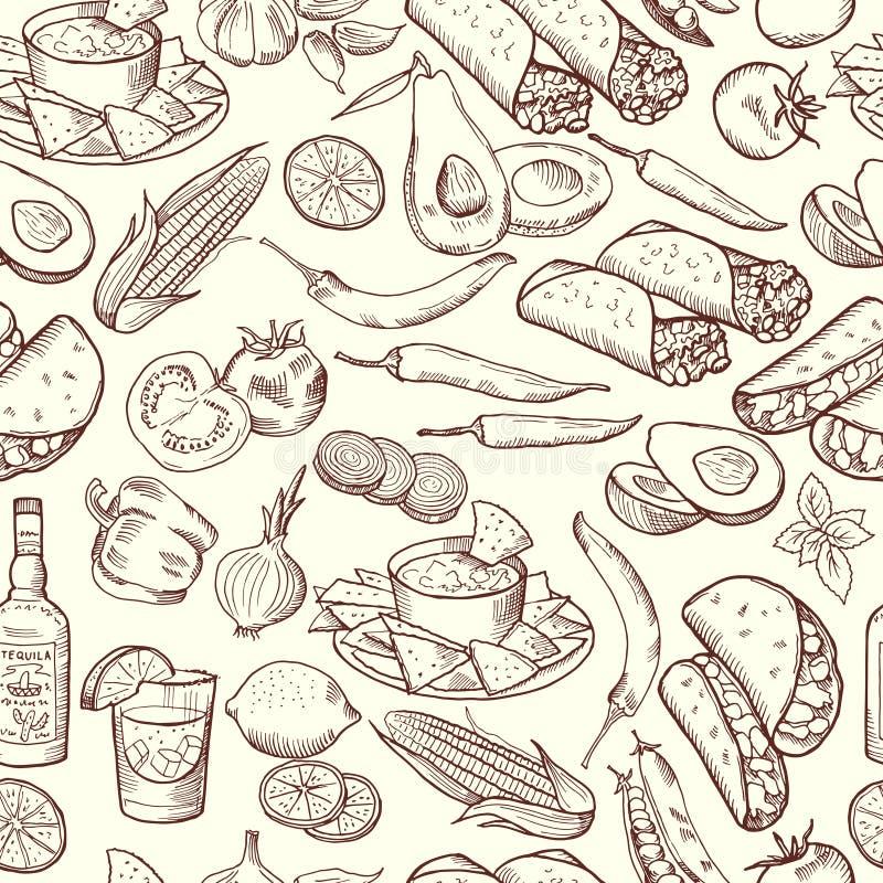 无缝的样式用传统墨西哥食物 被设置的传染媒介图片 向量例证