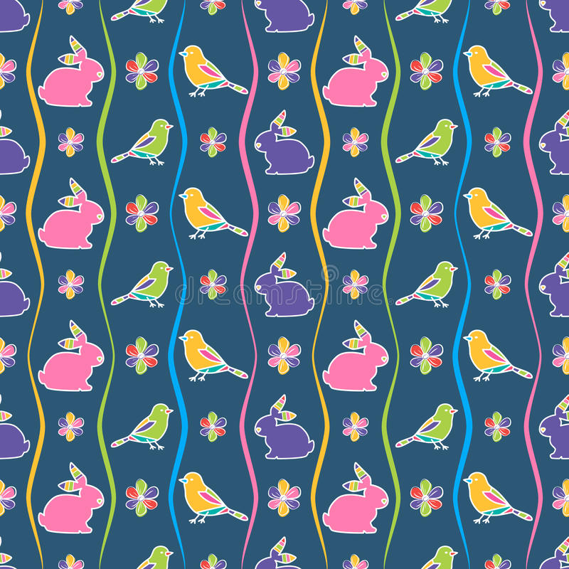 无缝的样式用兔子、鸟和花 库存例证