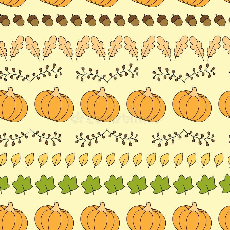 无缝的样式用南瓜、叶子和橡子 库存例证