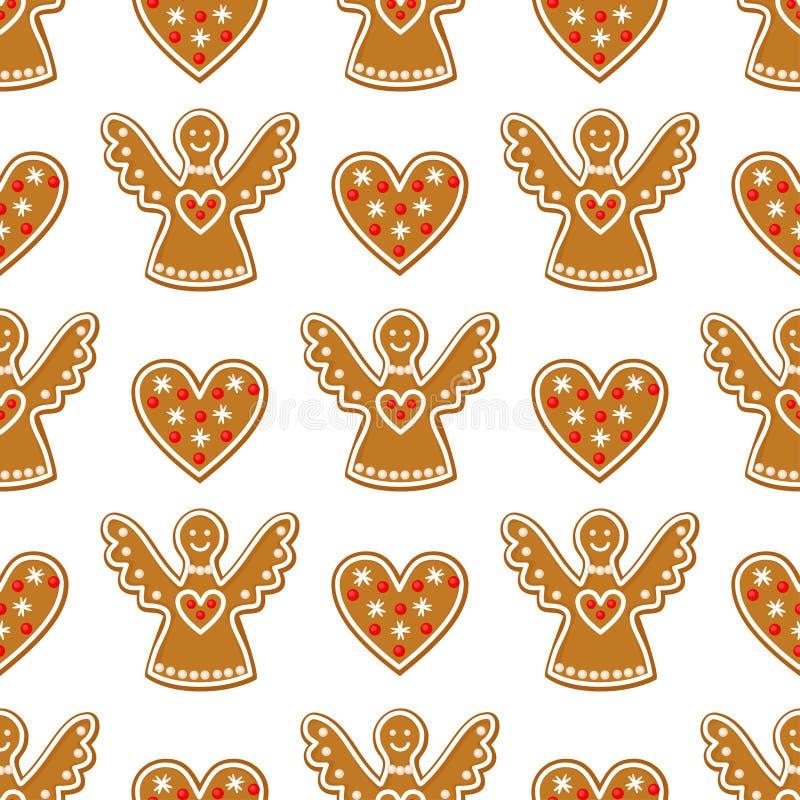 无缝的样式用圣诞节姜饼曲奇饼-天使和甜心 库存例证