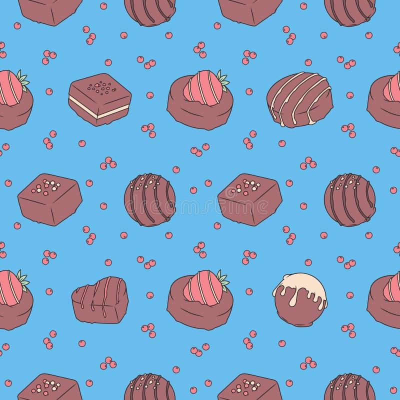 无缝的样式用在明亮的蓝色背景的鲜美看的巧克力果仁糖 向量例证