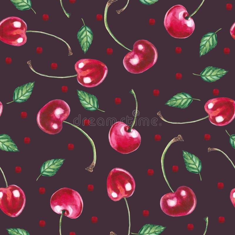 无缝的样式用在深红背景的樱桃 库存例证
