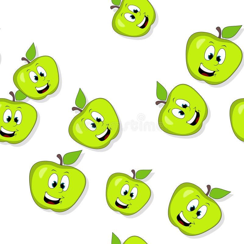 Download 无缝的样式用在白色的微笑的苹果 库存例证. 插画 包括有 现代, 动画片, 迭代, 设计, 例证, 颜色 - 59109504