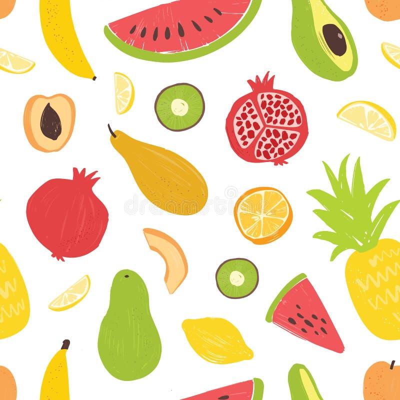 无缝的样式用在白色背景的异乎寻常的热带水果 与新鲜的饮食素食者的装饰夏天背景 向量例证