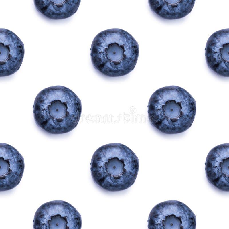 无缝的样式用在白色背景的新鲜的蓝莓 库存图片