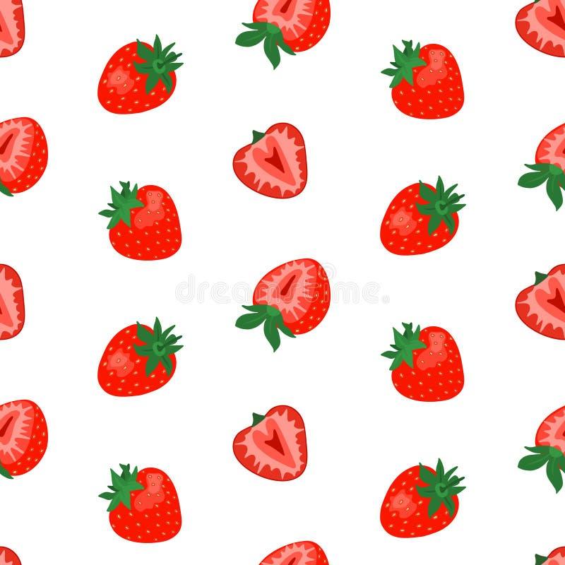 无缝的样式用在白色背景的逗人喜爱的草莓 库存例证
