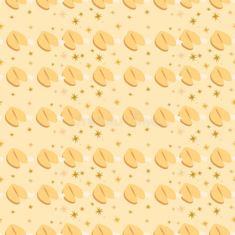 无缝的样式用在米黄背景的签饼 免版税图库摄影