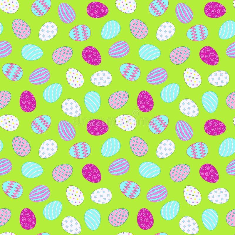 无缝的样式用在绿色背景的复活节彩蛋 向量 库存例证
