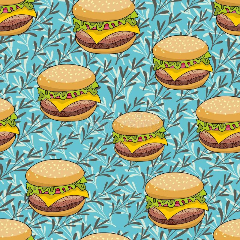 无缝的样式用在艺术性的背景的乱画汉堡包. 模式, 平面.图片