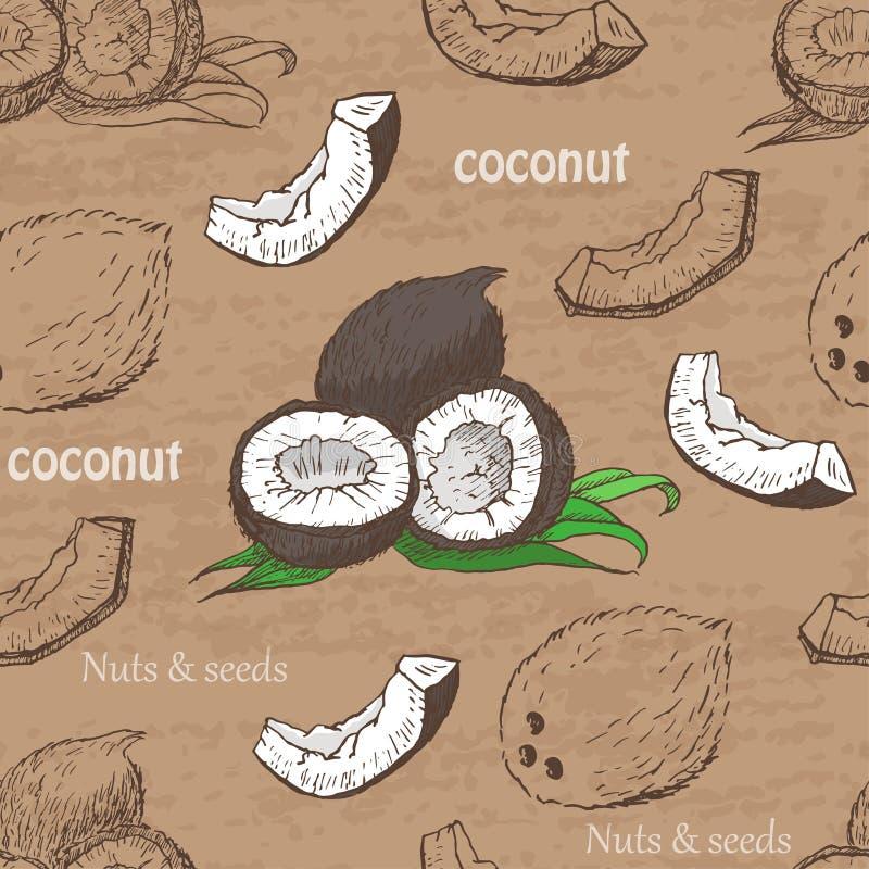 无缝的样式用在葡萄酒背景的椰子 皇族释放例证