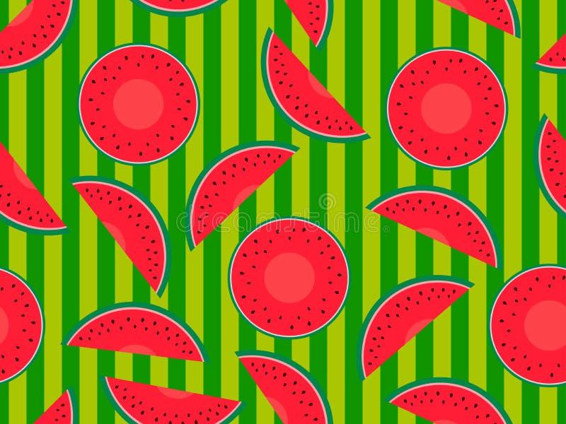 无缝的样式用在镶边绿色背景的西瓜 切片与种子的西瓜 向量 库存例证