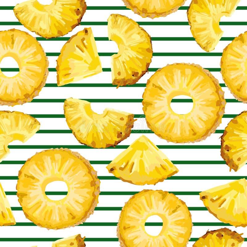 无缝的样式用在绿色条纹的菠萝 库存例证