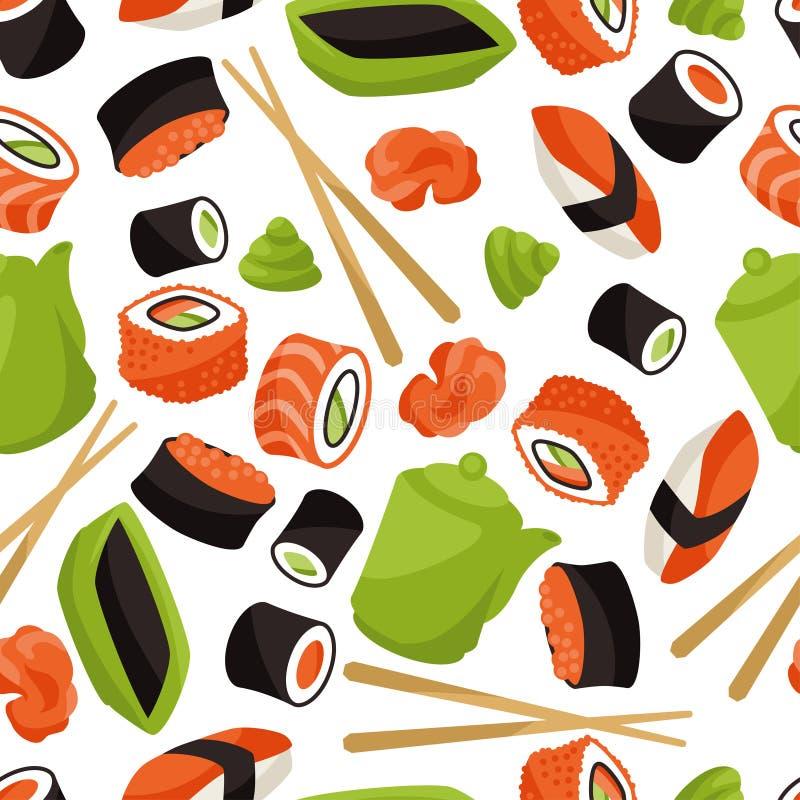 无缝的样式用寿司 库存例证