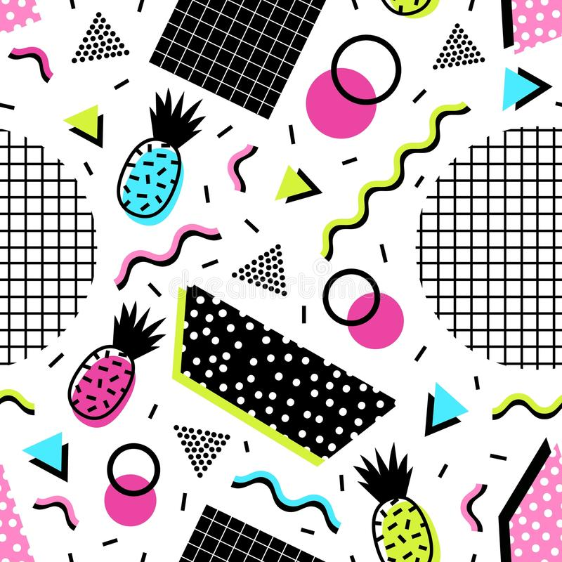 无缝的样式用异乎寻常的菠萝果子、几何形状和酸颜色波浪线在白色背景的 库存例证