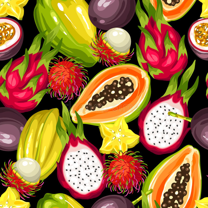 无缝的样式用异乎寻常的热带水果 亚洲植物的例证 向量例证