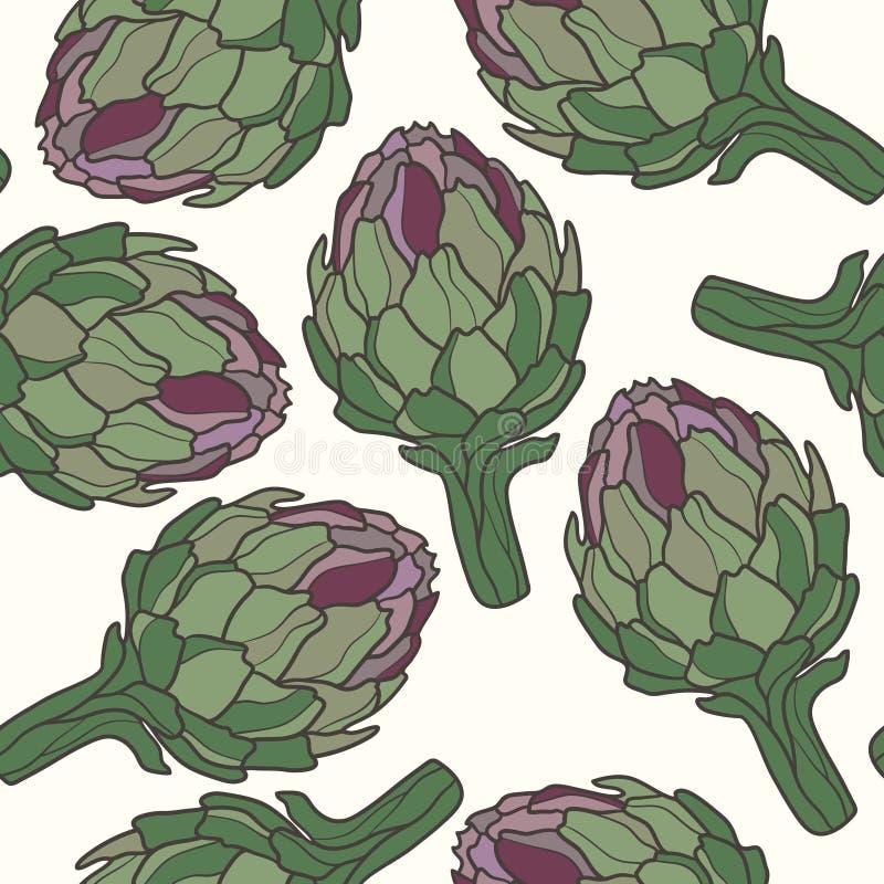 无缝的样式用成熟朝鲜蓟 与新鲜蔬菜的五颜六色的背景 库存例证