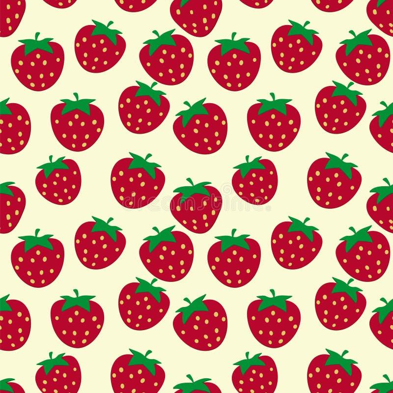 无缝的样式用成熟草莓 皇族释放例证