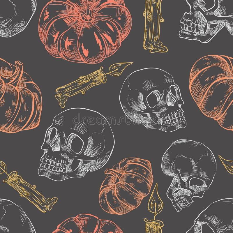 无缝的样式用手拉的万圣节南瓜、蜡烛和头骨 皇族释放例证