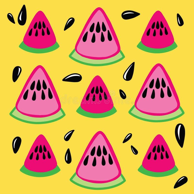 无缝的样式用手拉的乱画成熟西瓜和种子在黄色背景 向量例证