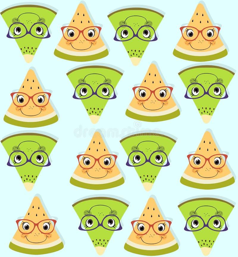 无缝的样式用新鲜的黄色瓜和绿色猕猴桃在蓝色背景 夏天果子背景 皇族释放例证