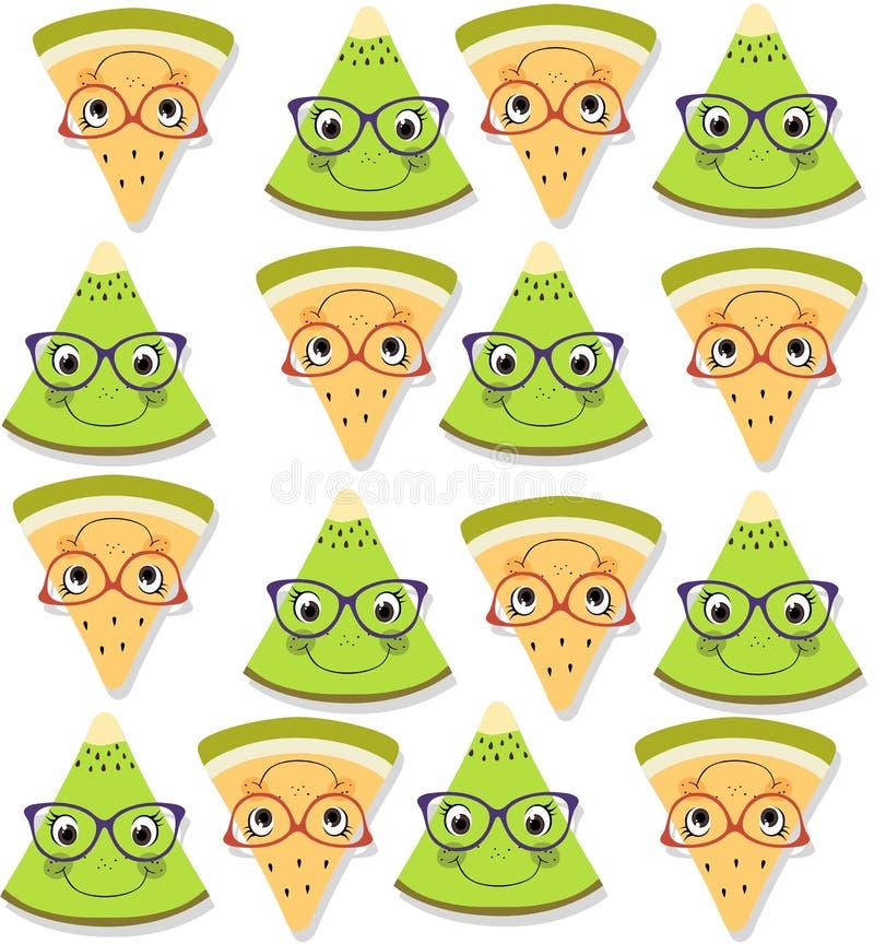 无缝的样式用新鲜的黄色瓜和绿色猕猴桃 下落阴影 夏天果子背景 向量例证