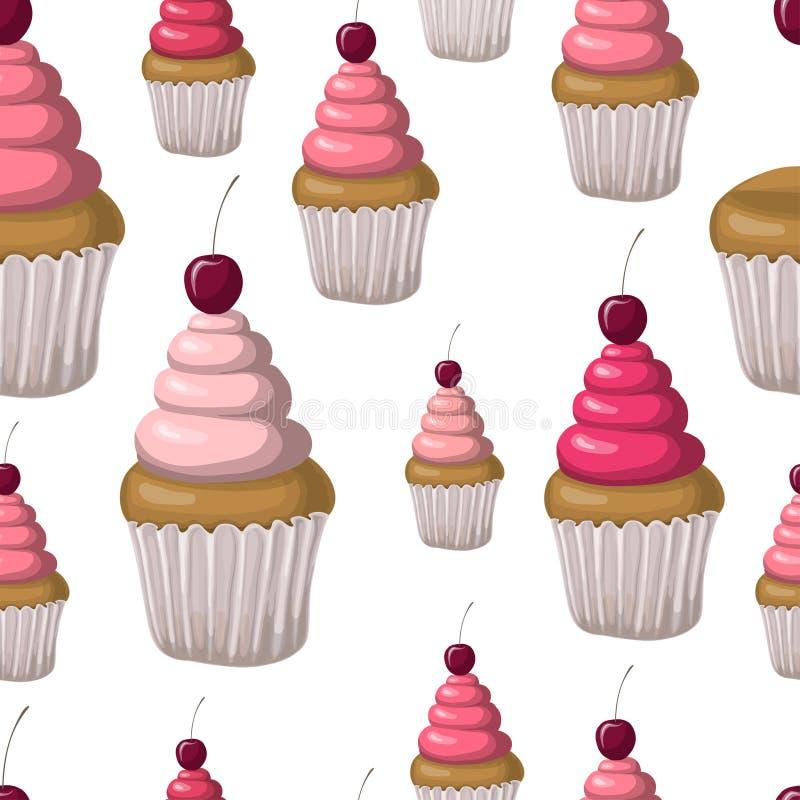 无缝的样式用杯形蛋糕和樱桃 手拉的设计 皇族释放例证