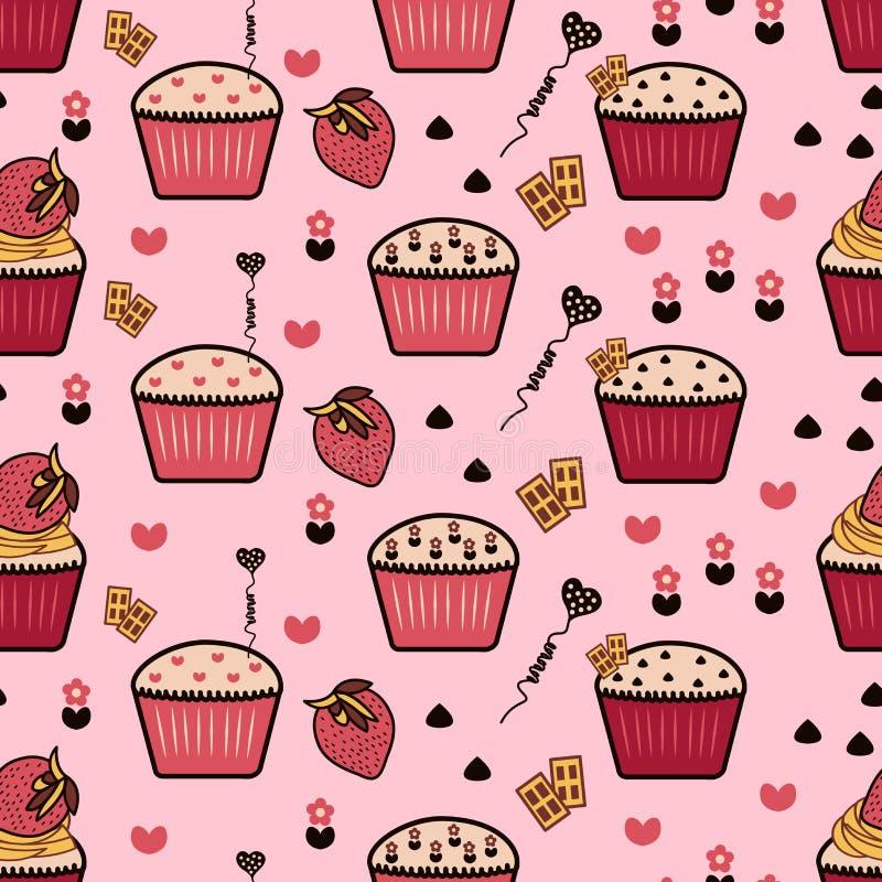 无缝的样式用杯形蛋糕,杯形蛋糕背景,桃红色backgr 皇族释放例证