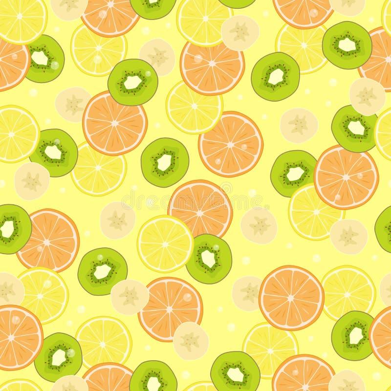 无缝的样式用柑橘水果,香蕉片 库存例证
