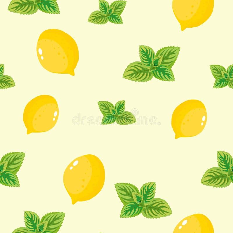 无缝的样式用柠檬和绿色薄菏在白色背景 库存例证