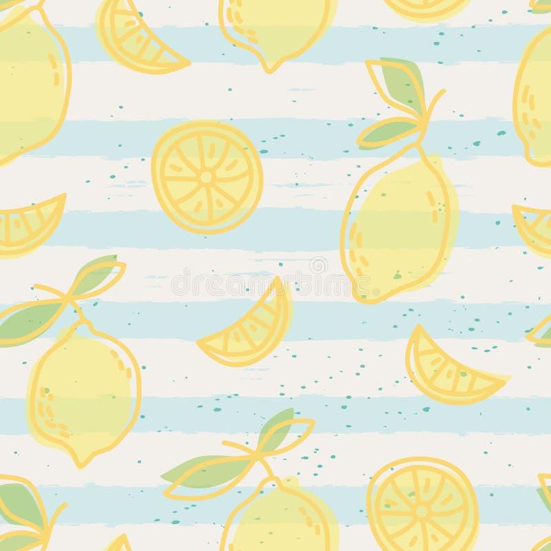 无缝的样式用柠檬果子 皇族释放例证