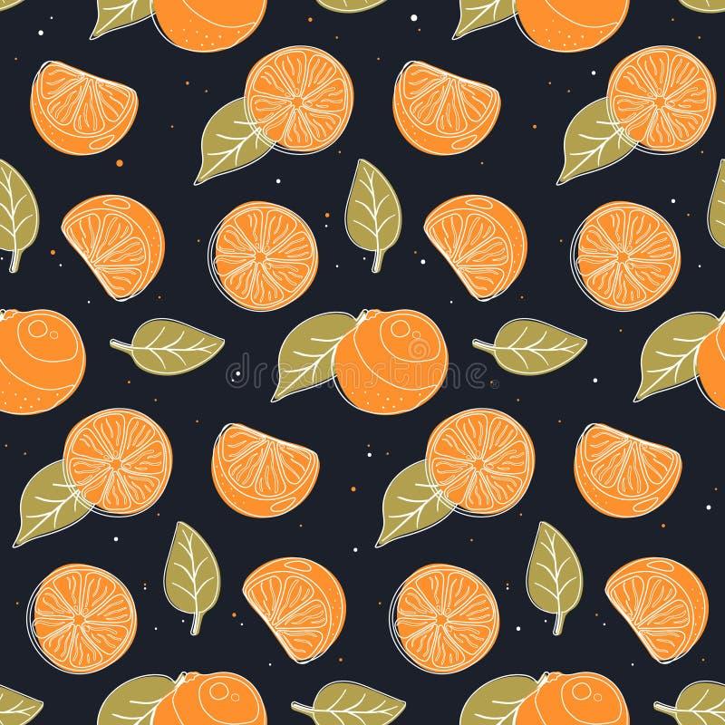 无缝的样式用桔子、切片和叶子 向量例证