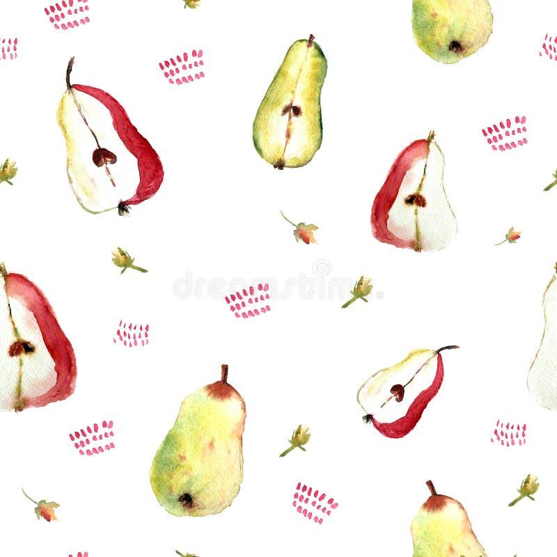 无缝的样式用梨和花在白色背景,逗人喜爱的被绘的果子衣裳的,家庭毛巾 皇族释放例证