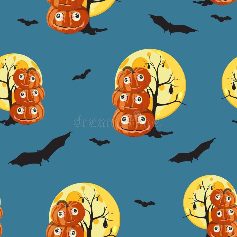 无缝的样式用橙色万圣夜南瓜雕刻了面孔、月亮和棒在深蓝背景 皇族释放例证