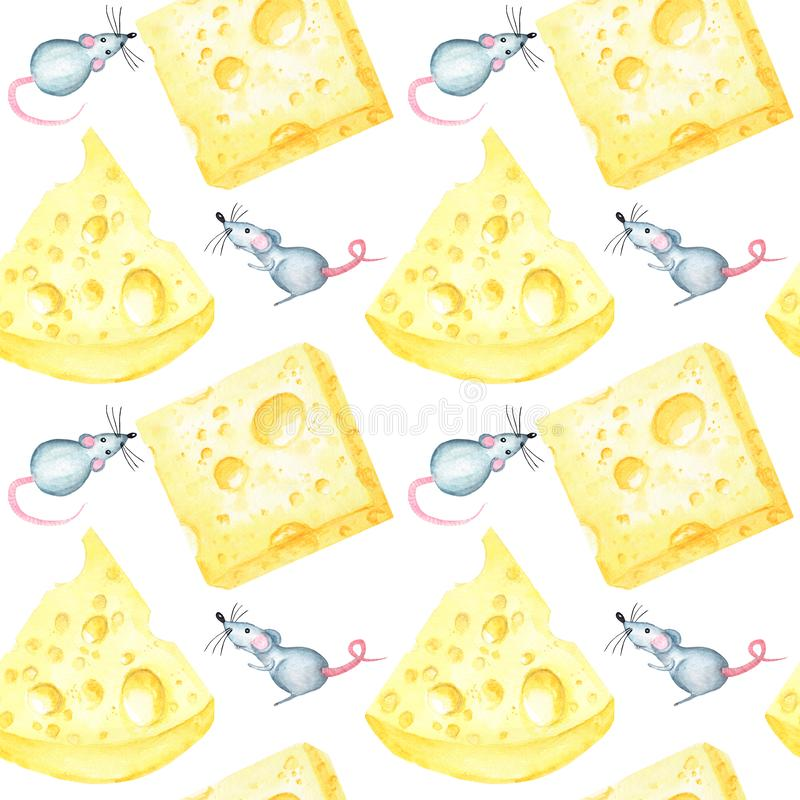 无缝的样式用水彩动画片手画的乳酪和中国占星的鼠标志在a的2020年 库存照片