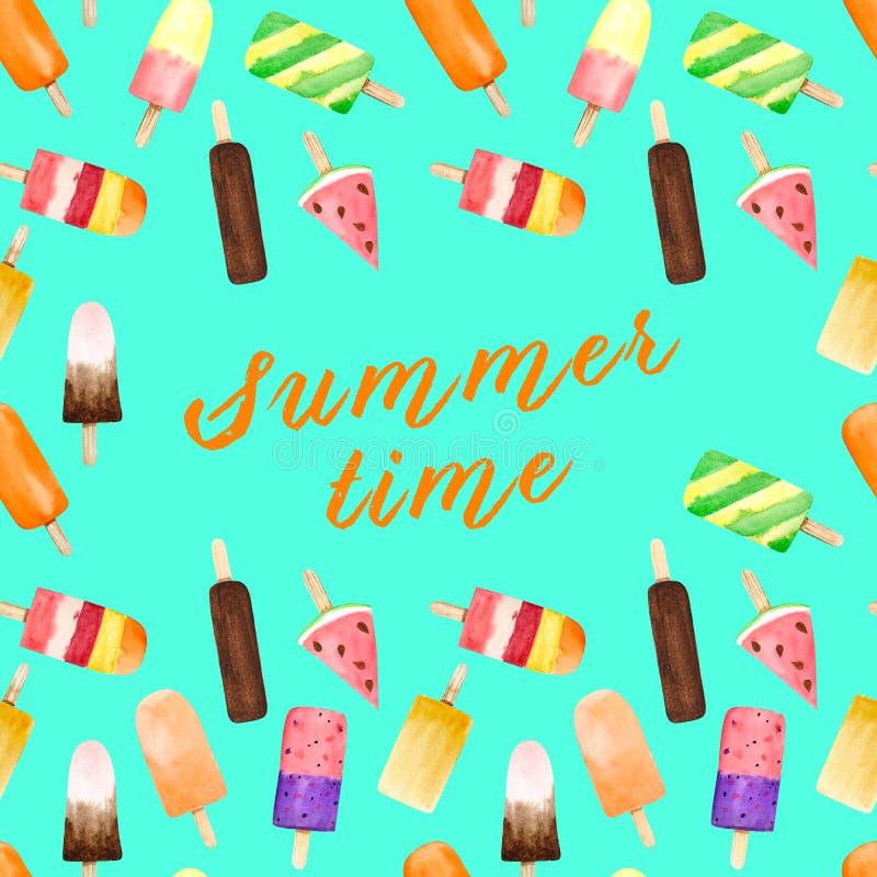 无缝的样式用水彩果子和巧克力冰淇淋在绿松石背景隔绝的棍子与夏天文本 库存照片