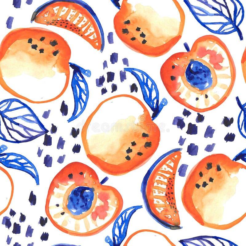 无缝的样式用水彩桃子 库存例证